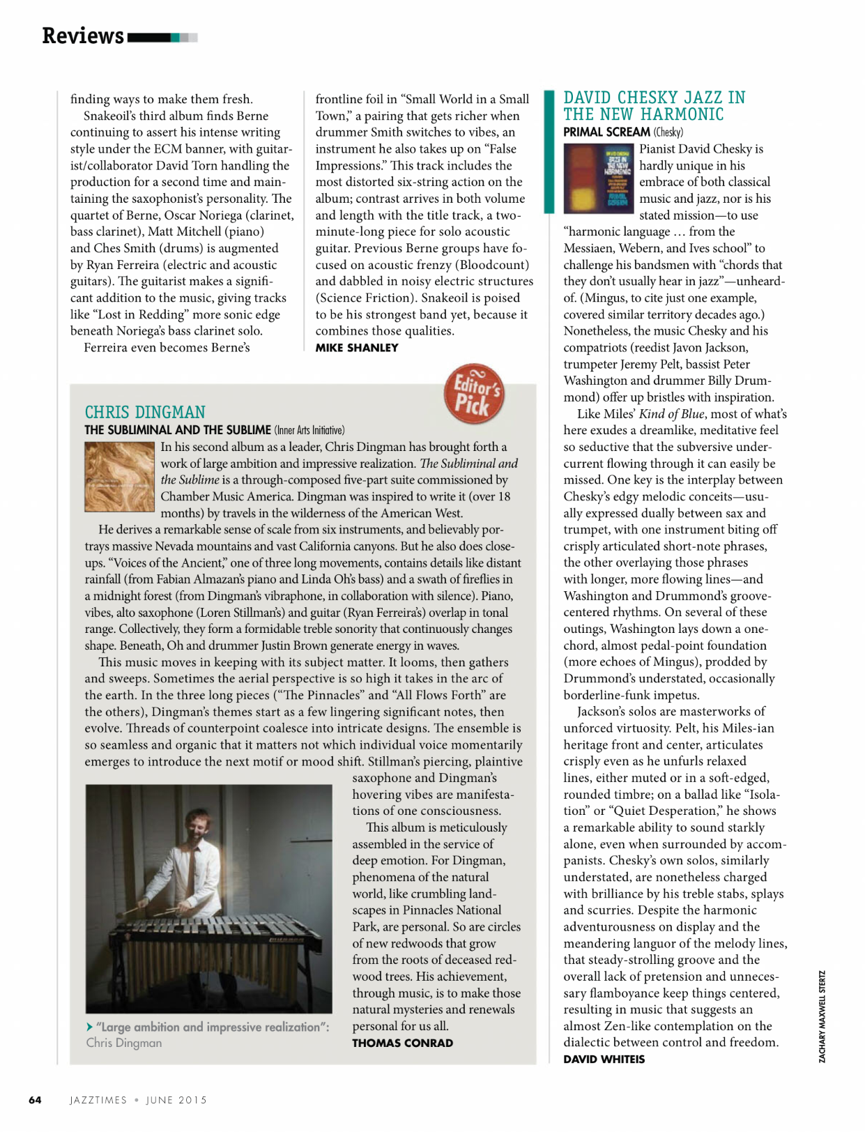 Review in June 2015 issue of JazzTimes